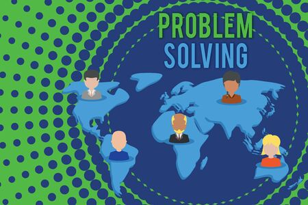Word writing text Problem Solving. Business photo showcasing process of finding solutions to difficult or complex issues Connection multiethnic persons all over world. Global business earth map Stockfoto