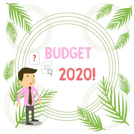 Writing note showing Budget 2020. Business concept for estimate of income and expenditure for next or current year Young Male Businessman Worker Searching Problem Solution