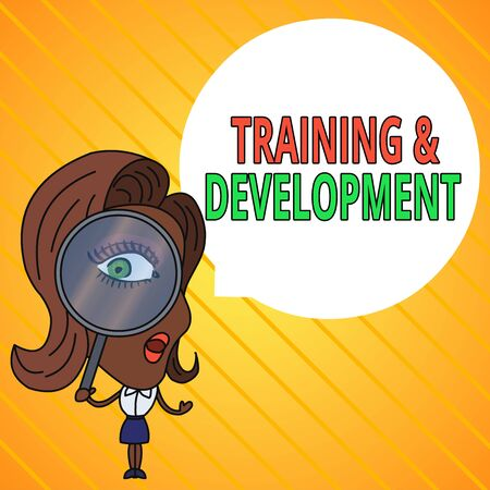 Text sign showing Training And Development. Business photo text learn specific knowledge to improve perforanalysisce Woman Looking Trough Magnifying Glass Big Eye Blank Round Speech Bubble Stockfoto