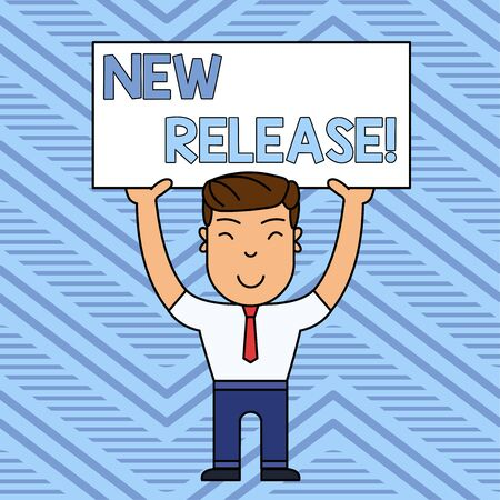 Word writing text New Release. Business photo showcasing announcing something newsworthy recent product Smiling Man Standing Holding Big Empty Placard Overhead with Both Hands