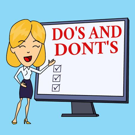 Writing note showing Do's And Dont'S. Business concept for Rules or customs concerning some activity or actions White Female in Standing Pointing Blank Screen Whiteboard Presentation
