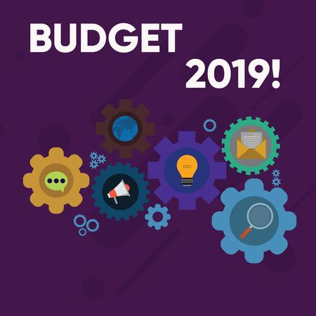 Handwriting text writing Budget 2019. Conceptual photo estimate of income and expenditure for current year Set of Global Online Social Networking Icons Inside Colorful Cog Wheel Gear