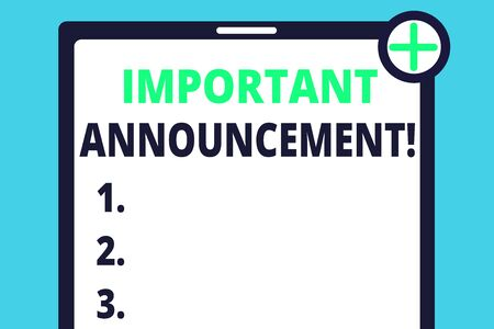 Handwriting text writing Important Announcement. Conceptual photo spoken statement that tells showing about something Blank Clipboard Touch Screen Tablet Mobile Device Check Circle Green Tick