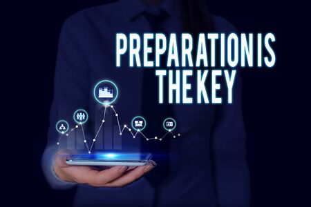 Text sign showing Preparation Is The Key. Business photo text it reduces errors and shortens the activities Woman wear formal work suit presenting presentation using smart device