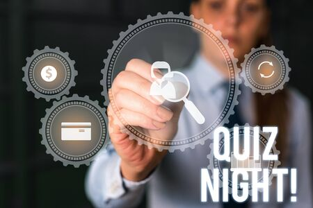 Word writing text Quiz Night. Business photo showcasing evening test knowledge competition between individuals Woman wear formal work suit presenting presentation using smart device