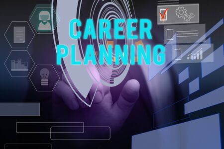 Text sign showing Career Planning. Business photo text Strategically plan your career goals and work success Male human wear formal work suit presenting presentation using smart device 写真素材