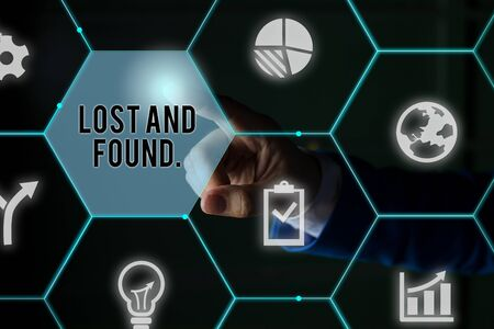 Text sign showing Lost And Found. Business photo showcasing a place where lost items are stored until they reclaimed Male human wear formal work suit presenting presentation using smart device