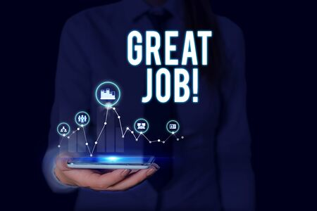 Text sign showing Great Job. Business photo text sed for telling someone that they have done something well Woman wear formal work suit presenting presentation using smart device 写真素材 - 128687472