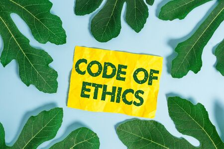 Text sign showing Code Of Ethics. Business photo showcasing basic guide for professional conduct and imposes duties Banque d'images