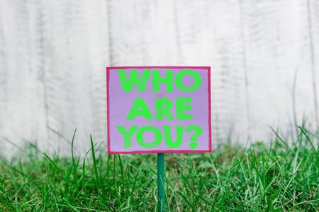 Text sign showing Who Are You Question. Business photo text asking about someone identity or demonstratingal information Plain empty paper attached to a stick and placed in the green grassy land