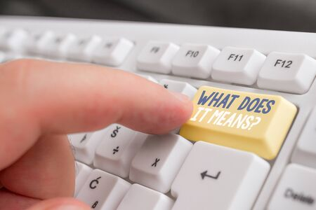Text sign showing What Does It Means Question. Business photo text asking meaning something said and do not understand White pc keyboard with empty note paper above white background key copy space