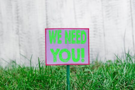 Text sign showing We Need You. Business photo text asking someone to work together for certain job or target Plain empty paper attached to a stick and placed in the green grassy land