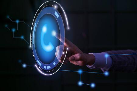 Lady presenting hand blue glow futuristic modern technology tech look contact Banco de Imagens