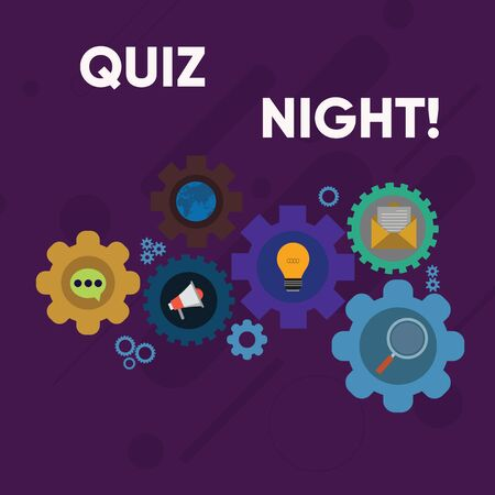 Handwriting text writing Quiz Night. Conceptual photo evening test knowledge competition between individuals Set of Global Online Social Networking Icons Inside Colorful Cog Wheel Gear Stok Fotoğraf