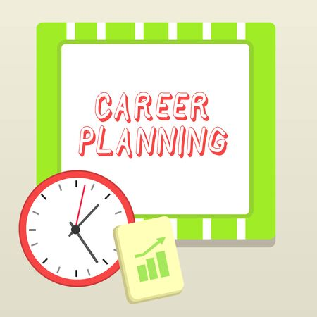 Handwriting text writing Career Planning. Conceptual photo Strategically plan your career goals and work success Layout Wall Clock Notepad with Escalating Bar Graph and Arrow Pointing Up