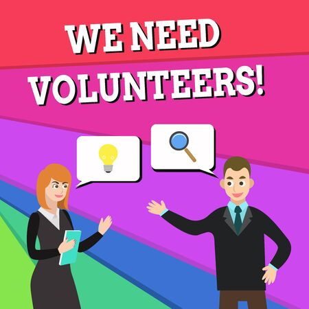 Text sign showing We Need Volunteers. Business photo showcasing someone who does work without being paid for it Business Partners Colleagues Jointly Seeking Problem Solution Generate Idea