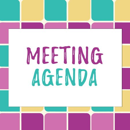 Writing note showing Meeting Agenda. Business concept for items that participants hope to accomplish at a meeting Pastel Color Teardrops Shape with Border Flat Style Geometric Shape