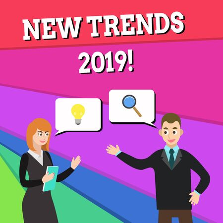 Text sign showing New Trends 2019. Business photo showcasing general direction in which something is developing Business Partners Colleagues Jointly Seeking Problem Solution Generate Idea 版權商用圖片