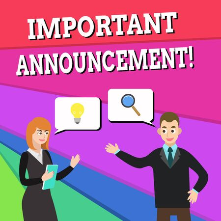 Text sign showing Important Announcement. Business photo showcasing spoken statement that tells showing about something Business Partners Colleagues Jointly Seeking Problem Solution Generate Idea 写真素材