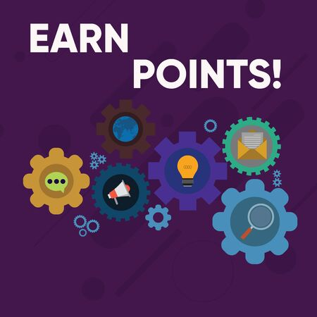 Handwriting text writing Earn Points. Conceptual photo collecting scores in order qualify to win big prize Set of Global Online Social Networking Icons Inside Colorful Cog Wheel Gear