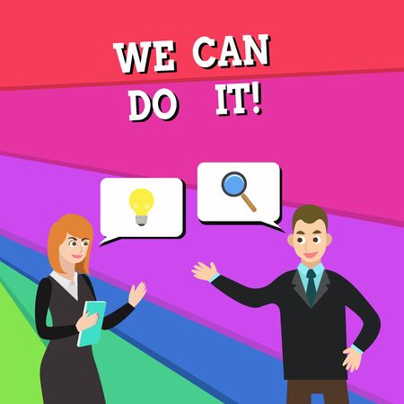Text sign showing We Can Do It. Business photo showcasing see yourself as powerful capable demonstrating Business Partners Colleagues Jointly Seeking Problem Solution Generate Idea