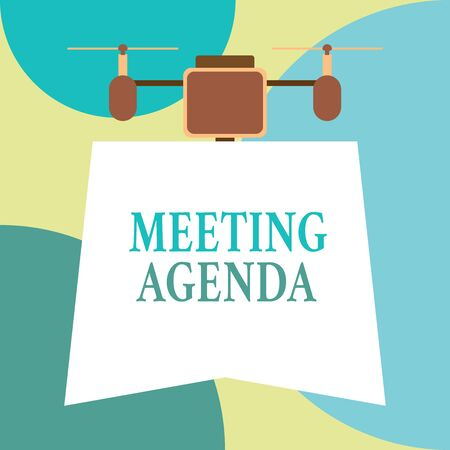Conceptual hand writing showing Meeting Agenda. Concept meaning items that participants hope to accomplish at a meeting Drone holding downwards banner. Geometrical design Banco de Imagens