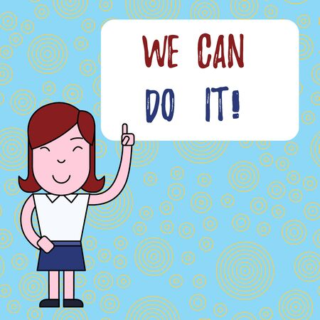 Text sign showing We Can Do It. Business photo text see yourself as powerful capable demonstrating Woman Standing with Raised Left Index Finger Pointing at Blank Text Box