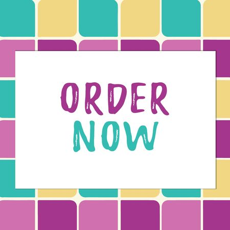 Writing note showing Order Now. Business concept for the activity of asking for goods or services from a company Pastel Color Teardrops Shape with Border Flat Style Geometric Shape