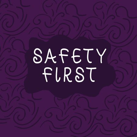 Conceptual hand writing showing Safety First. Concept meaning used to say that the most important thing is to be safe Floral Outline Freehand Baroque Style Seamless Pattern Idea 스톡 콘텐츠