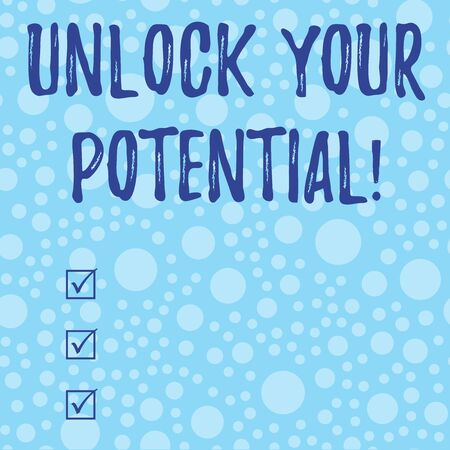 Conceptual hand writing showing Unlock Your Potential. Concept meaning release possibilities Education and good training is key Scattered Blue Polka Dots Seamless Round Spots Matching Background