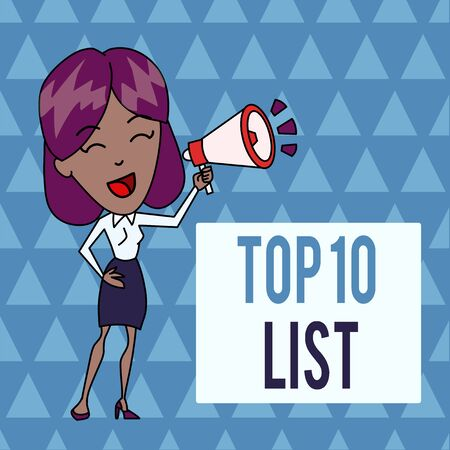 Conceptual hand writing showing Top 10 List. Concept meaning the ten most important or successful items in a particular list Young Woman Speaking in Blowhorn Colored Backgdrop Text Box