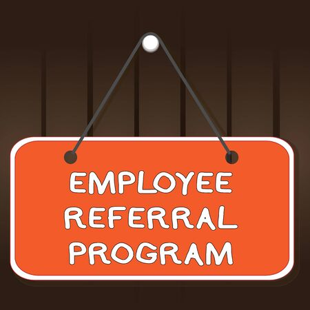 Writing note showing Employee Referral Program. Business concept for employees are rewarded for introducing recruits Memo reminder empty board attached background rectangle