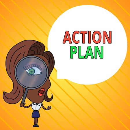 Text sign showing Action Plan. Business photo text detailed plan outlining actions needed to reach goals or vision Woman Looking Trough Magnifying Glass Big Eye Blank Round Speech Bubble