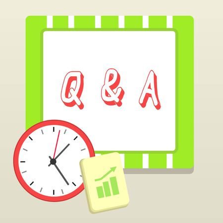 Handwriting text writing Q And A. Conceptual photo a period of time or an occasion when someone answers questions Layout Wall Clock Notepad with Escalating Bar Graph and Arrow Pointing Up