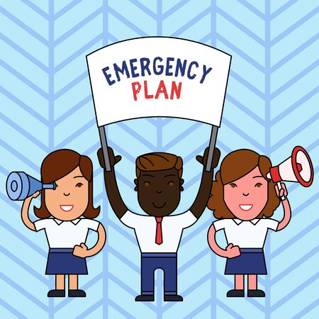 Writing note showing Emergency Plan. Business concept for procedures for handling sudden or unexpected situations People with Banner Megaphone and Spy Glass Demonstration