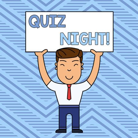 Word writing text Quiz Night. Business photo showcasing evening test knowledge competition between individuals Smiling Man Standing Holding Big Empty Placard Overhead with Both Hands Imagens