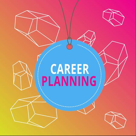Word writing text Career Planning. Business photo showcasing Strategically plan your career goals and work success Badge circle label string rounded empty tag colorful background small shape 写真素材