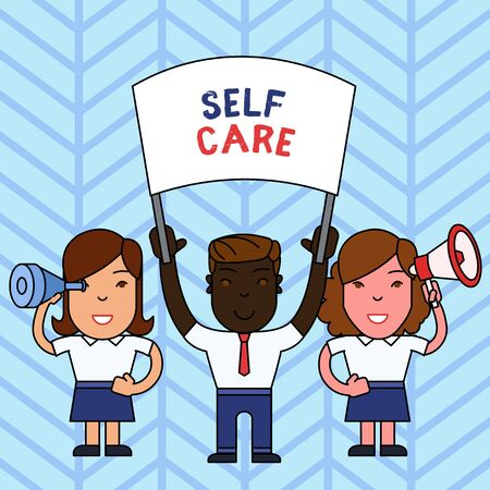 Writing note showing Self Care. Business concept for the practice of taking action to improve one s is own health People with Banner, Megaphone and Spy Glass Demonstration