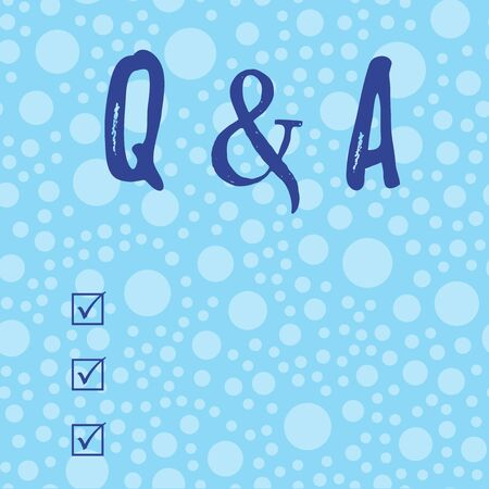 Conceptual hand writing showing Q And A Question. Concept meaning in which demonstrating asks questions and another one answers them Scattered Blue Polka Dots Seamless Round Spots Matching Background