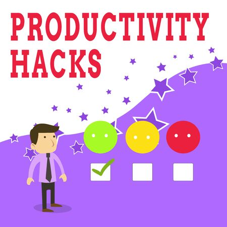 Text sign showing Productivity Hacks. Business photo text tricks that you get more done in the same amount of time White Male Questionnaire Survey Choice Checklist Satisfaction Green Tick Banco de Imagens