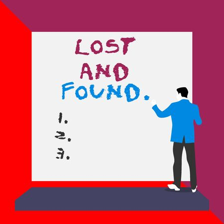 Word writing text Lost And Found. Business photo showcasing a place where lost items are stored until they reclaimed Back view young man dressed suit standing platform facing blank rectangle