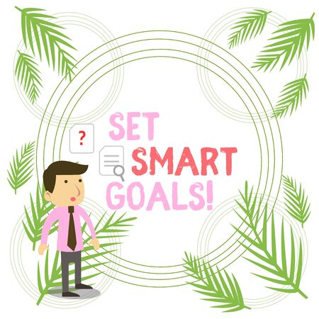 Writing note showing Set Smart Goals. Business concept for list to clarify your ideas focus efforts use time wisely Young Male Businessman Worker Searching Problem Solution Stock Photo