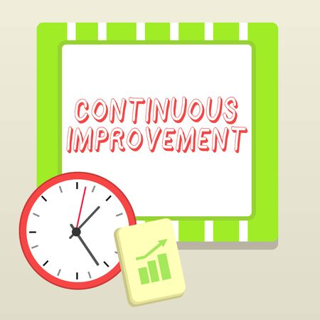 Handwriting text writing Continuous Improvement. Conceptual photo ongoing effort to improve products or processes Layout Wall Clock Notepad with Escalating Bar Graph and Arrow Pointing Up Zdjęcie Seryjne