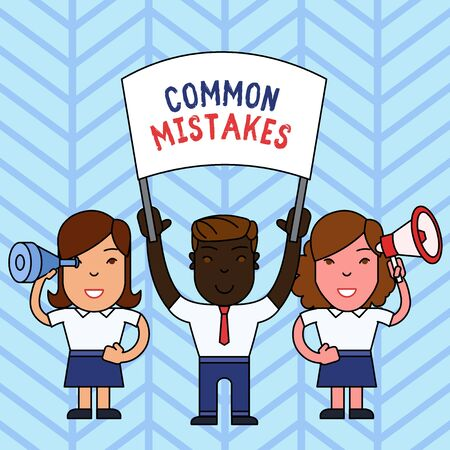Writing note showing Common Mistakes. Business concept for actions that are often used interchangeably with error People with Banner, Megaphone and Spy Glass Demonstration Imagens