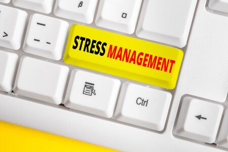 Text sign showing Stress Management. Business photo text method of limiting stress and its effects by learning ways White pc keyboard with empty note paper above white background key copy space