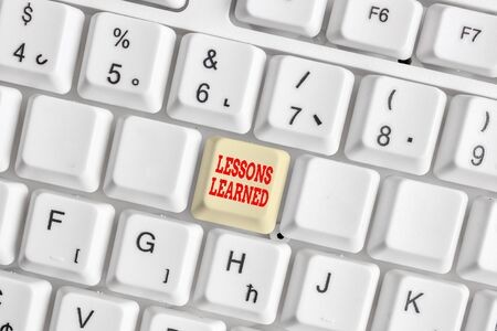 Conceptual hand writing showing Lessons Learned. Concept meaning the knowledge or understanding gained by experience White pc keyboard with note paper above the white background