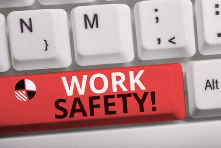 Word writing text Work Safety. Business photo showcasing policies and procedures in place to ensure health of employees White pc keyboard with empty note paper above white background key copy space