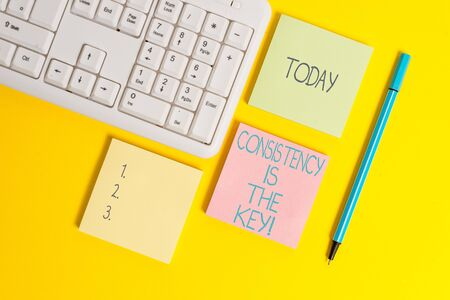 Text sign showing Consistency Is The Key. Business photo showcasing by Breaking Bad Habits and Forming Good Ones Empty papers with copy space on the yellow background table