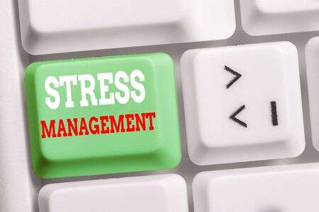 Word writing text Stress Management. Business photo showcasing method of limiting stress and its effects by learning ways White pc keyboard with empty note paper above white background key copy space Banco de Imagens