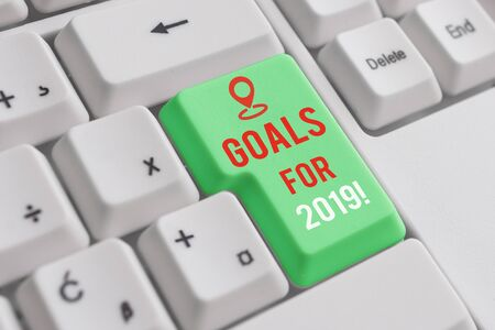 Text sign showing Goals For 2019. Business photo showcasing object of demonstratings ambition or effort aim or desired result White pc keyboard with empty note paper above white background key copy space